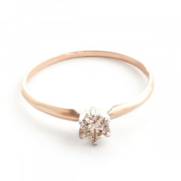 Diamond Crown Solitaire Ring 0.25 ct in 9ct Rose Gold
