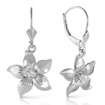 Diamond Flower Star Drop Earrings 0.1 ctw in 9ct White Gold