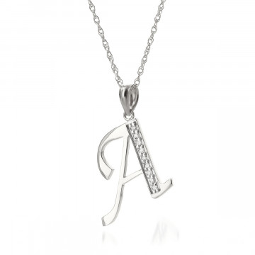 Diamond Letter Initial A Pendant Necklace in 9ct White Gold