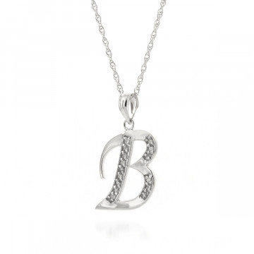 Diamond Letter Initial B Pendant Necklace in 9ct White Gold