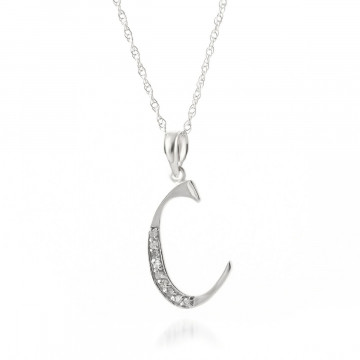 Diamond Letter Initial C Pendant Necklace in 9ct White Gold