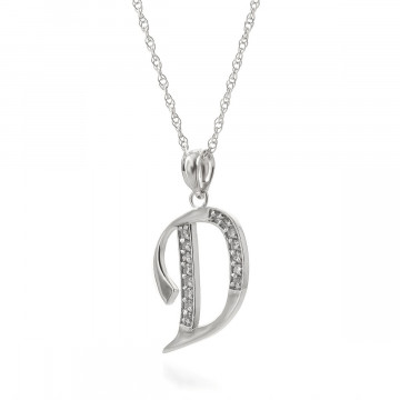 Diamond Letter Initial D Pendant Necklace in 9ct White Gold