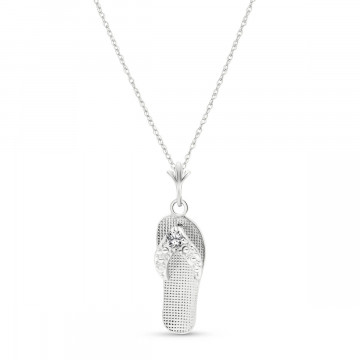 Diamond Sandal Pendant Necklace 0.02 ctw in 9ct White Gold
