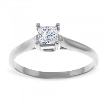 Diamond Solitaire Ring 0.5 ct in Sterling Silver
