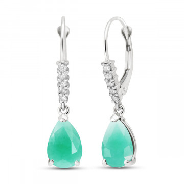Emerald & Diamond Belle Drop Earrings in 9ct White Gold
