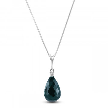 Emerald & Diamond Beret Pendant Necklace in 9ct White Gold