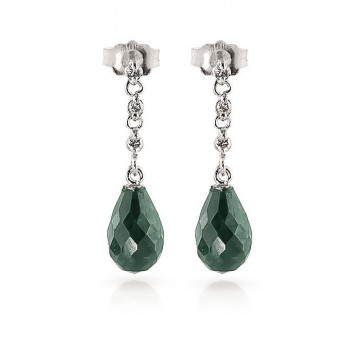 Emerald & Diamond Chain Droplet Earrings in 9ct White Gold