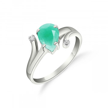 Emerald & Diamond Flank Ring in 9ct White Gold