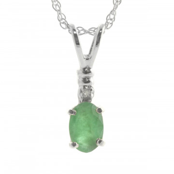 Emerald & Diamond Pendant Necklace in 9ct White Gold