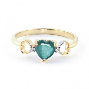 Emerald & Diamond Trinity Ring in 9ct Gold