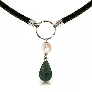 Emerald & Pearl Leather Pendant Necklace in 9ct White Gold