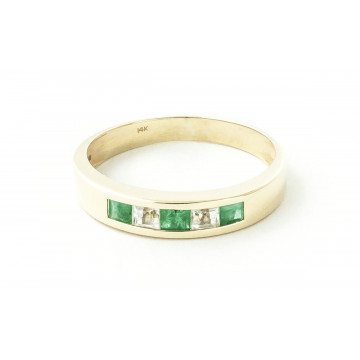Emerald & White Topaz Princess Prestige Ring in 9ct Gold