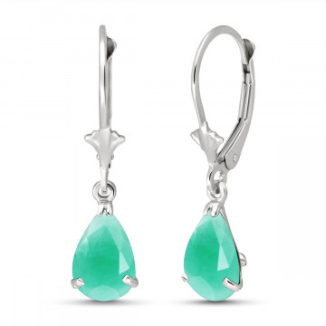 Emerald Belle Drop Earrings 2 ctw in 9ct White Gold