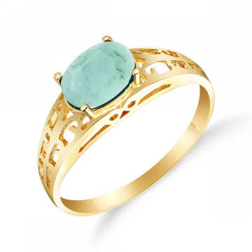 Emerald Catalan Filigree Ring 1.15 ct in 9ct Gold