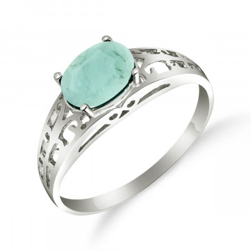 Emerald Catalan Filigree Ring 1.15 ct in 9ct White Gold
