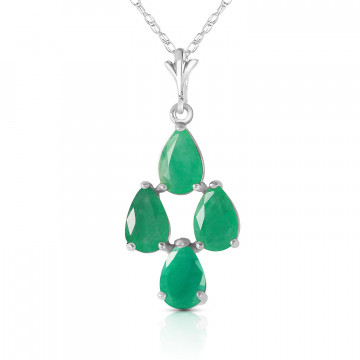 Emerald Chandelier Pendant Necklace 1.5 ctw in 9ct White Gold