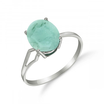 Emerald Claw Set Ring 2.9 ct in 9ct White Gold