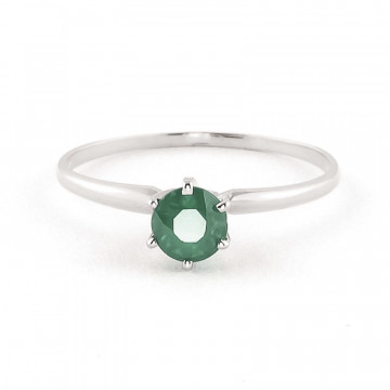 Emerald Crown Solitaire Ring 0.65 ct in 9ct White Gold