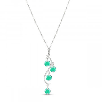 Emerald Dream Catcher Pendant Necklace 2 ctw in 9ct White Gold