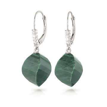 Emerald Drop Earrings 30.65 ctw in 9ct White Gold