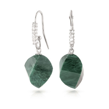 Emerald Drop Earrings 30.68 ctw in 9ct White Gold
