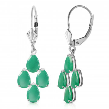 Emerald Drop Earrings 4.5 ctw in 9ct White Gold