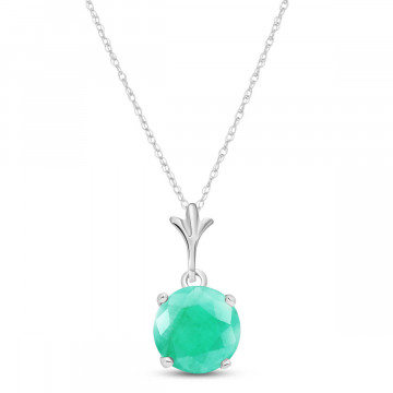 Emerald Drop Pendant Necklace 1.65 ct in 9ct White Gold