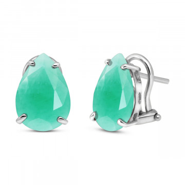 Emerald Droplet Stud Earrings 7 ctw in 9ct White Gold