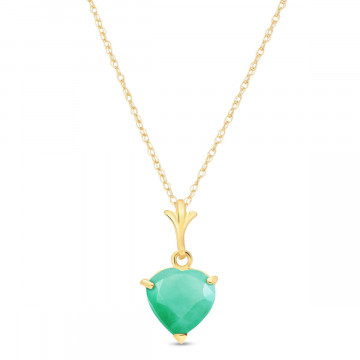 Emerald Heart Pendant Necklace 1.2 ct in 9ct Gold