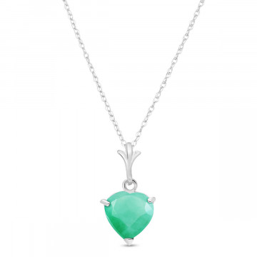 Emerald Heart Pendant Necklace 1.2 ct in 9ct White Gold