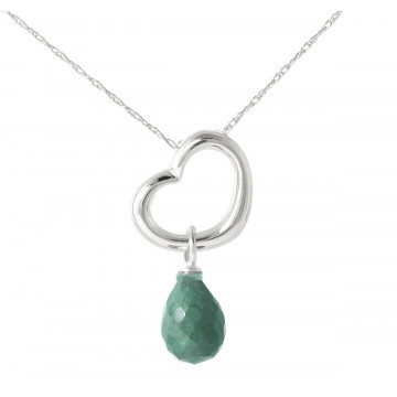 Emerald Heart Pendant Necklace 3.3 ct in 9ct White Gold