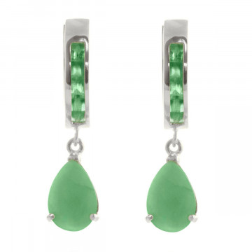 Emerald Huggie Drop Earrings 1.3 ctw in 9ct White Gold