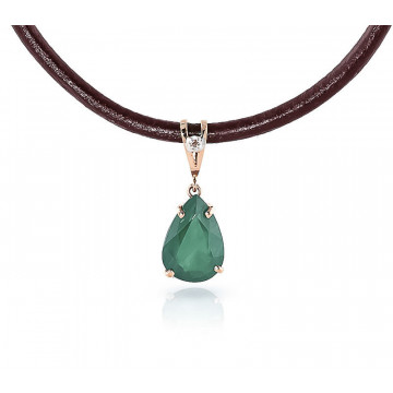 Emerald Leather Pendant Necklace 3.51 ctw in 9ct Rose Gold