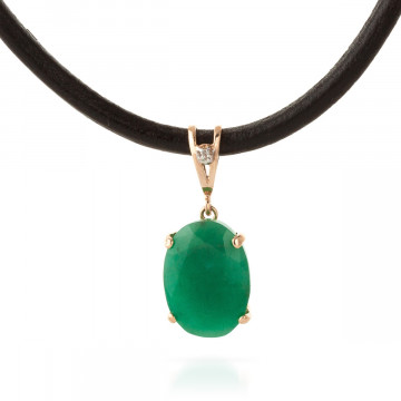 Emerald Leather Pendant Necklace 6.51 ctw in 9ct Rose Gold