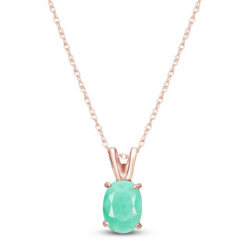 Emerald Oval Pendant Necklace 0.75 ct in 9ct Rose Gold