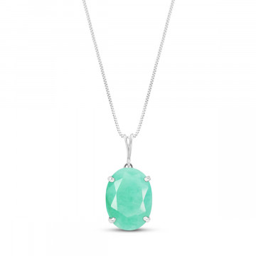 Emerald Oval Pendant Necklace 6.5 ct in 9ct White Gold