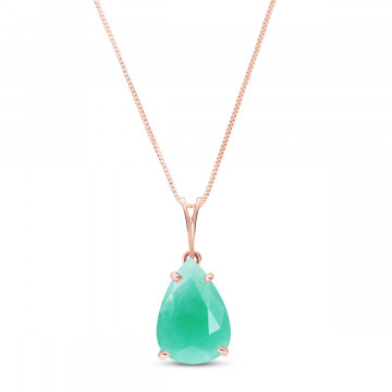 Emerald Pear Drop Pendant Necklace 3.5 ct in 9ct Rose Gold