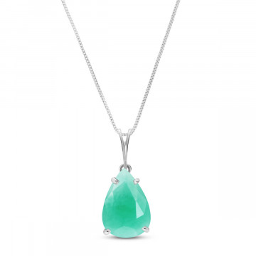 Emerald Pear Drop Pendant Necklace 3.5 ct in 9ct White Gold