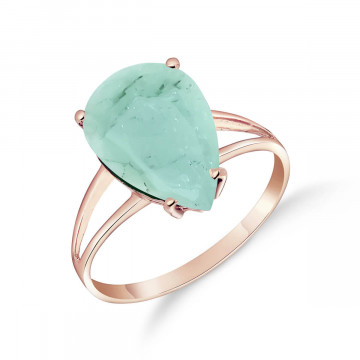 Emerald Pear Drop Ring 3.5 ct in 9ct Rose Gold