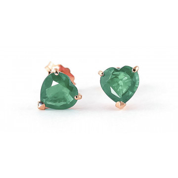 Emerald Stud Earrings 2.4 ctw in 9ct Rose Gold