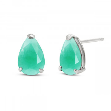 Emerald Stud Earrings 2 ctw in 9ct White Gold