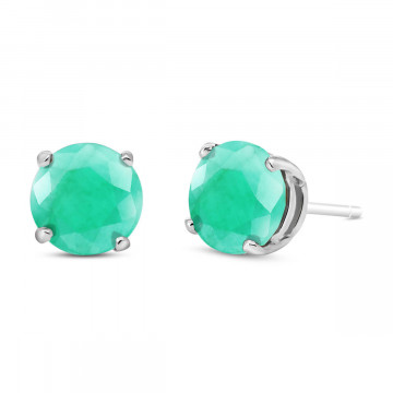 Emerald Stud Earrings 3.3 ctw in 9ct White Gold