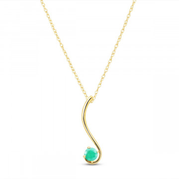 Emerald Swish Pendant Necklace 0.55 ct in 9ct Gold