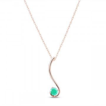 Emerald Swish Pendant Necklace 0.55 ct in 9ct Rose Gold