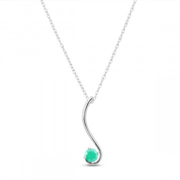 Emerald Swish Pendant Necklace 0.55 ct in 9ct White Gold