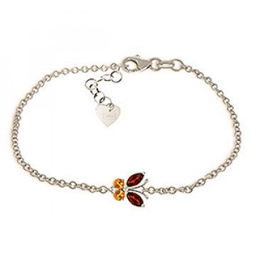 Garnet & Citrine Adjustable Butterfly Bracelet in 9ct White Gold