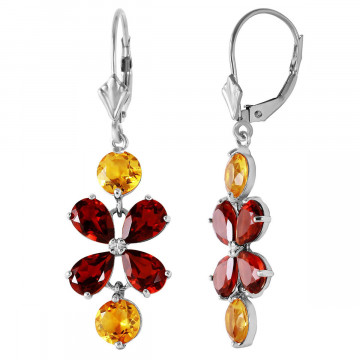 Garnet & Citrine Blossom Drop Earrings in 9ct White Gold