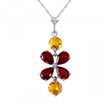 Garnet & Citrine Blossom Pendant Necklace in 9ct White Gold