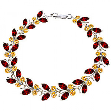 Garnet & Citrine Butterfly Bracelet in 9ct White Gold