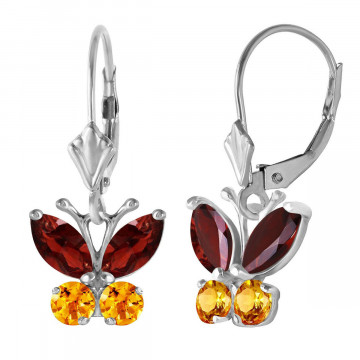 Garnet & Citrine Butterfly Drop Earrings in 9ct White Gold